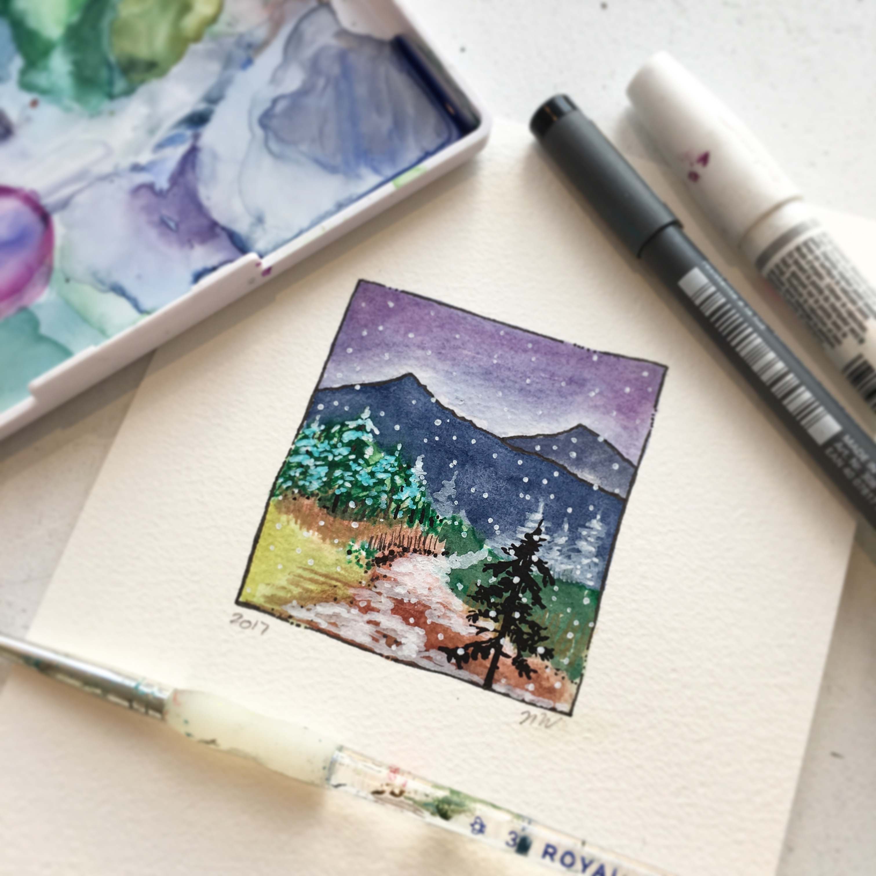 Mountains and Islands in Watercolour
